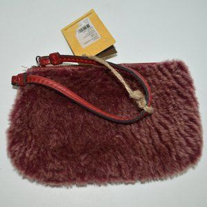 Patricia Nash Laser Cut Sherpa Berry Red Wristlet